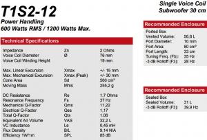 Rockford Fosgate T1S2-12